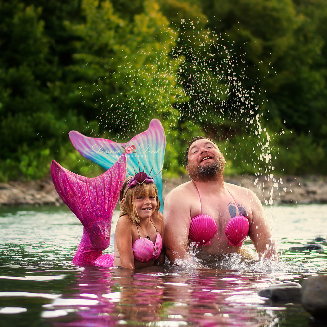 Daughter Celebrates Her 8th Birthday by Having a Mermaid Photoshoot With Her Dad